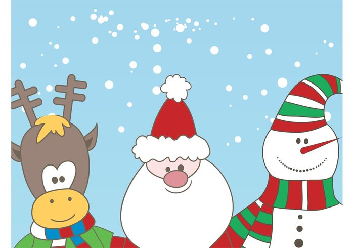 winter snowman snow Smile santa claus reindeer mascots holiday happy comic christmas characters celebration cartoon