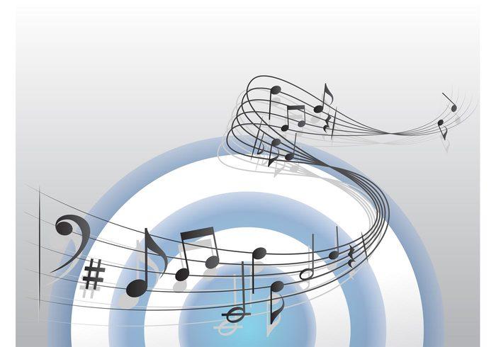 waves target staff sounds sheet music sharp notes Notation music vector music melody measure circle chords bass clef bar