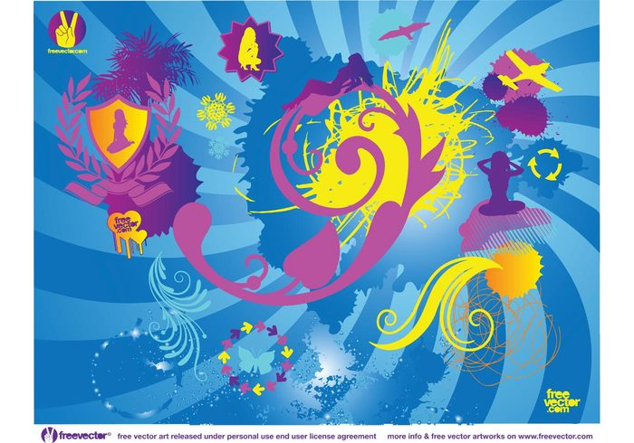 vector pack swoosh splatters silhouettes shield sexy ribbon plant paint hot grunge girls free graphics dynamic Design Elements airplane