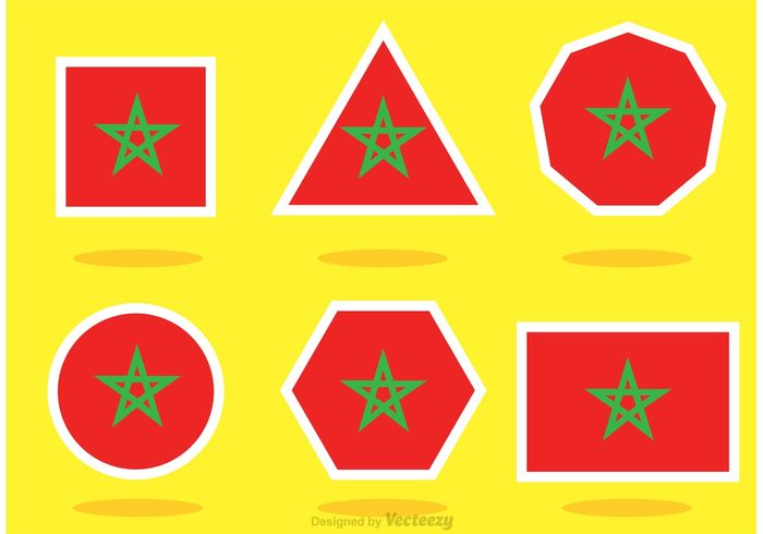 Different-shaped flag Morocco Vector