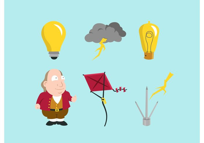 storm old bulb lightning rod lightning Inventor history Franklin founding father character cartoon bulb Benjamin franklin Benjamin ben franklin character Ben Franklin ben american politician american america