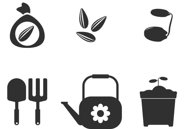 watering can watering spring shovel seeds seedling seed pocket seed packet seed icon seed rake pot planting plant grow ground gardening garden flower farming farm