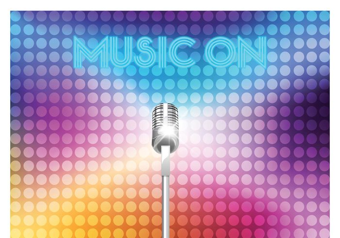 vintage vector style Studio Staves sound Sing silver shiny rock retro record radio show radio poster pop old notes neon musical music microphone mic live Jazz invitation illustration graphic drawn disco design classic card background audio art air