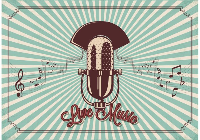 vintage vector style Studio Staves sound Sing rock retro record radio show radio poster pop old notes musical music microphone mic live Jazz invitation illustration graphic drawn disco design classic card background audio art air