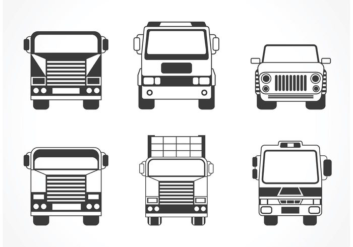 wheels vehicles vector vans Tyre truck car trip transportation transport tire speed silhouette set illustration hatchbacks gages driving counter collection cars car silhouette front car front view car front isolated background Automobiles