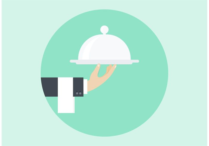 waiter vintage vector tray towel symbol support style space sign service retro restaurant quality professional order marketing illustration icon hand flat element design customer cover copy concept cafe butler service butler business background