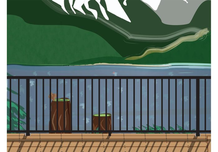 wooden vista view trees terrace Relaxation relax nature mountains mountain calm