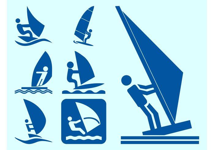 windsurfing Windsurfers Windsurf waves Water sport water vacation symbols sport sea sails Recreation icons holiday