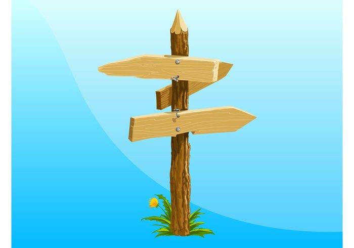 wooden wood trunk tree realistic pole pointers plant planks nails grass flower direction bark arrows