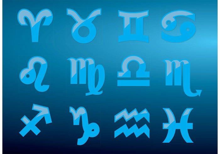 zodiac Waterman Virgo Virgin Twins Taurus symbols scorpion Sagittarius Pisces Capricorn blue birthday birth anniversary
