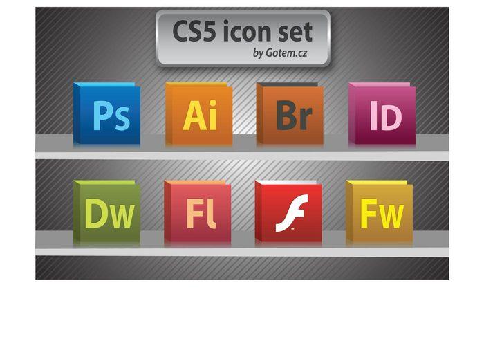 Photoshop InDesign illustrator icon Flash Fireworks CS5 Bridge Adobe