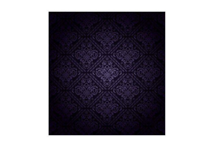 Textile swatch seamless scrolls repeating purple pattern motif leaves leaf flowers floral filigree dark