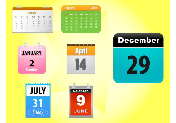 year time sticker Pmp Pgmp numbers months day dates colors calendars Calendar vectors application app
