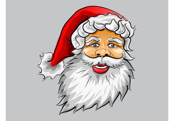 xmas smiling Smile santa vector santa claus old man holidays head hat hair greeting card festive face christmas beard