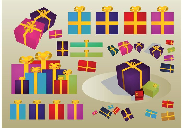 santa claus present party package Noel love joy holiday greeting card give gift christmas celebration bridal box birthday anniversary 3d 2D