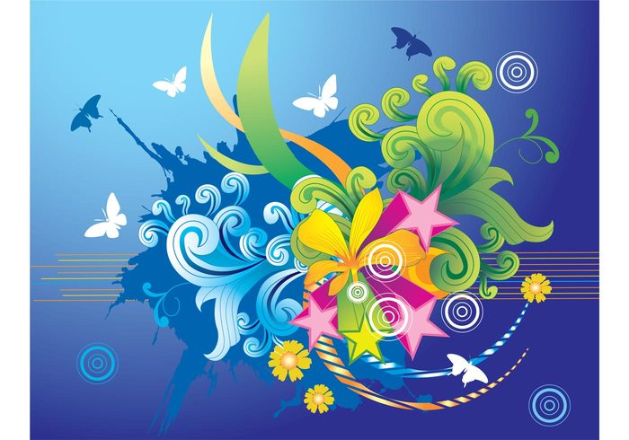 waves wallpaper summer stars Spring break season paradise holidays flowers explosion exotic colors cartoon butterflies