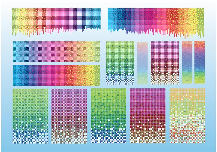 yellow sky shape rainbow pixels pixel pink lot green dots Colour colors blue background backdrop abstract