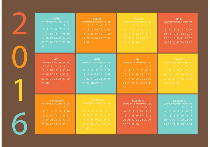 year week vector template table summer season schedule red planner plan organizer new month May March light July January illustration holiday grid graphic diary December day date data dark background colorful color calender calendar 2016 calendar business basic background 2016