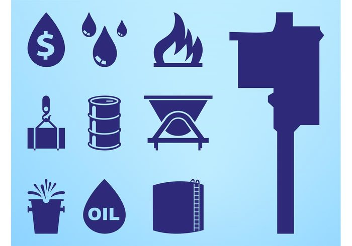 tower silhouettes Oil pumping oil money icons flames fire drops droplets dollar sign container bucket barrel