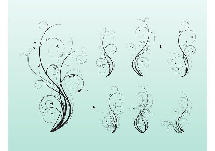 wavy waving wave swirl plant heart flower flourish floral curved curve curl