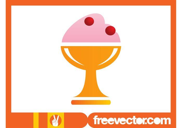 Tasty sweet sundae summer ice cream frozen food dessert cold cherry cherries