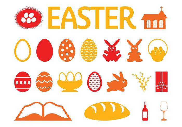 wine symbols religious religion rabbits icons holiday glass eggs egg easter church christian celebration bunny bottle