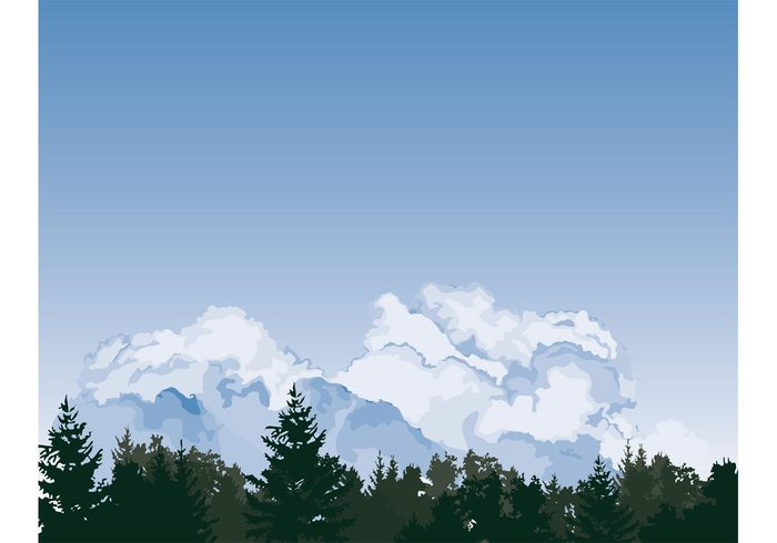 sky pine trees pine panorama North America nature clouds Clouded blue beautiful background vector backdrop