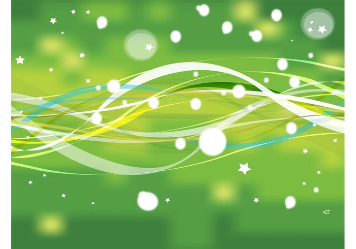 vector background swoosh swirl stars radiant greeting card green gold dots Desktop wallpaper bubbles abstract