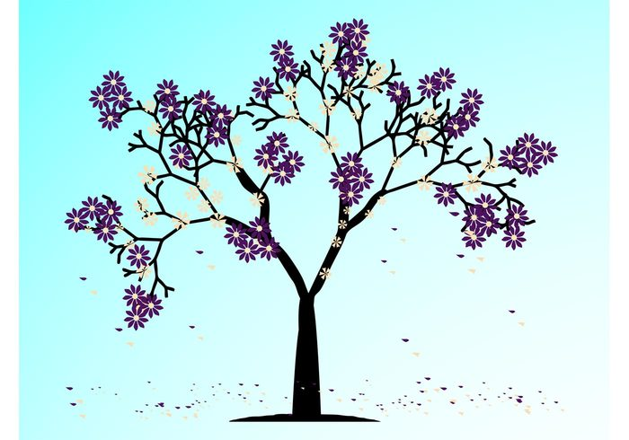 twigs trunk spring plants petals nature vector flowers floral branches blossoms bark