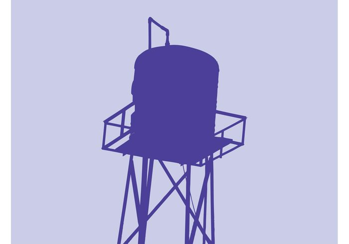 urban silhouette Repairs platform Mechanics legs container construction city bars