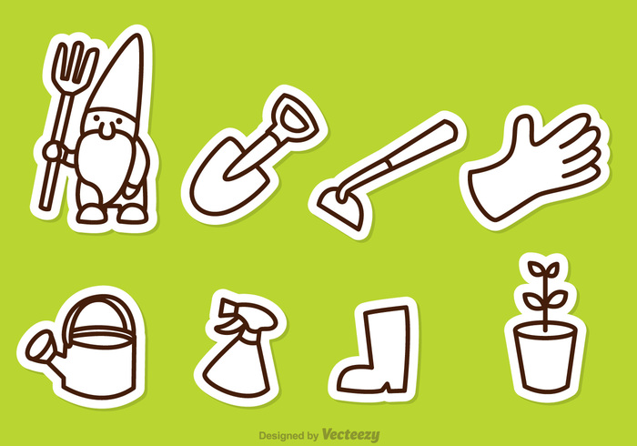 watering can water tool spray shovel plant outline green gnome gloves garen gardening equipment boots