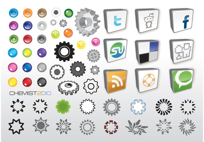 web 2.0 twitter tools Stumbeupon Social bookmark shapes rss feed reddit logos icons glass gear Facebook DIGG community buttons