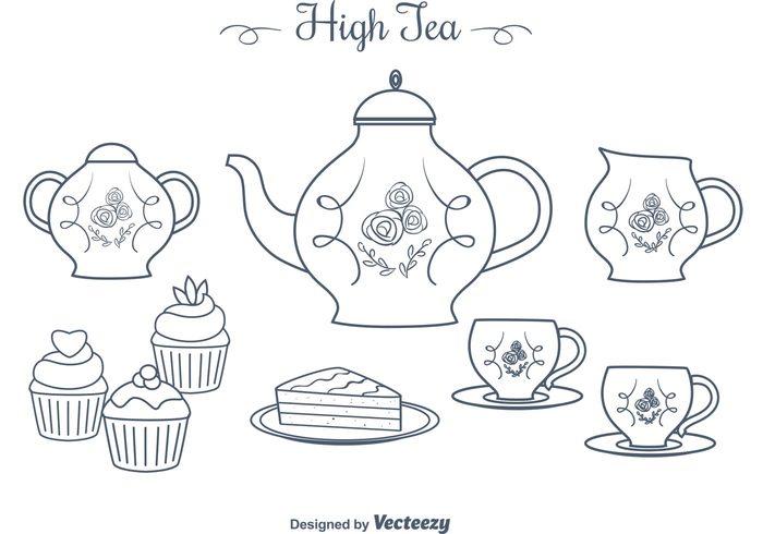 victorian thea party teapot tea kettles tea cups tea sweet sugar pot party muffin kettle hot high tea cups high tea hand drawn desserts cup breakfast