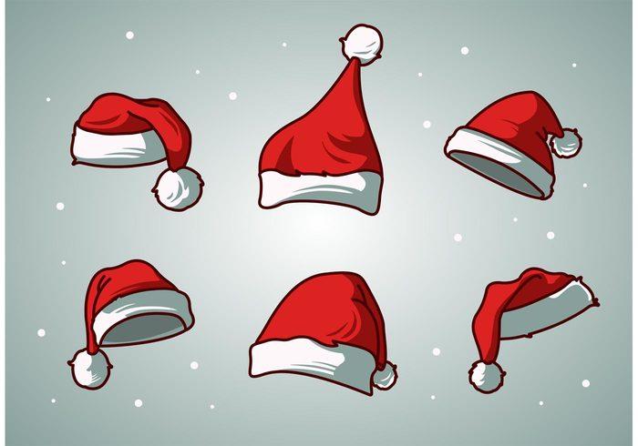 xmas season santa hat santa claus santa cap vector santa cap santa red merry isolated holiday hat costume Claus christmas cap