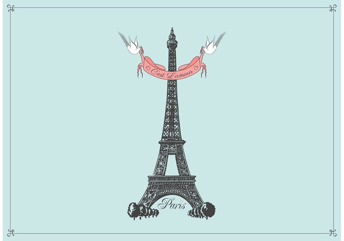 vintage vector trees travel town tower structure street sketch silhouettes ribbon postcard picture Pencil drawing park Paris monument minimalism landmarks Journey image illustration hand drawn france fields Europe eiffel tower isolated Eiffel drawn drawing doves design construction card building birds banner art architecture