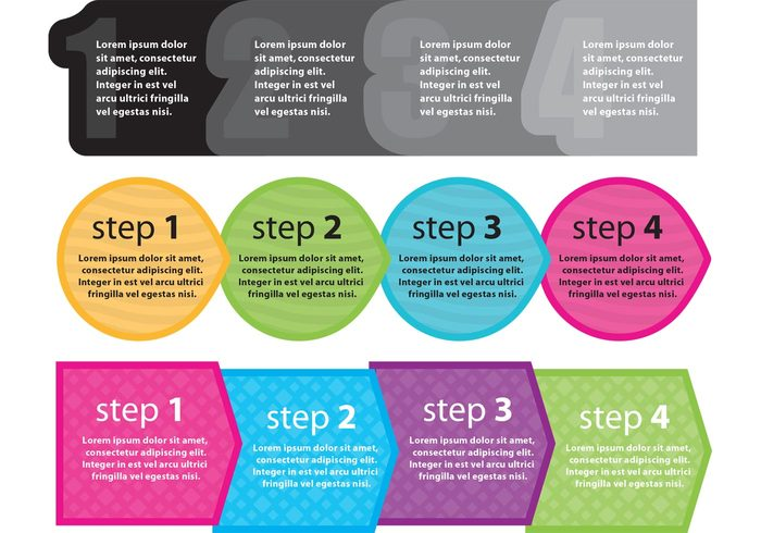 Webdesign web template step sequence round progress process Procedure order options next steps next step next modern marketing layout Idea flow direction description concept compare circles bubble banner arrow advertising