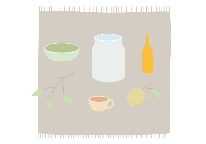wallpaper vector table pots plants leafs kitchen background kitchen illustration glass food cups cloth branches bottles background