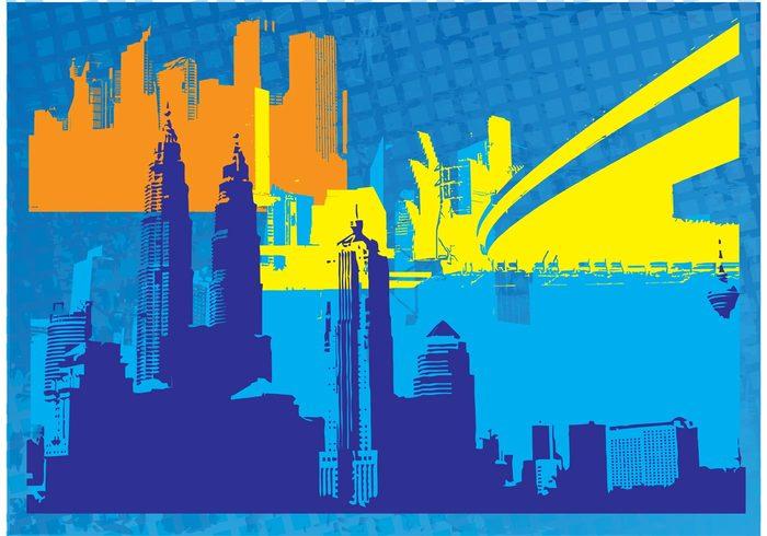 Urban graphics tower Tokyo skyscraper skyline Sidney Petronas towers new york Metropolitan Kuala lumpur Cityscape vectors