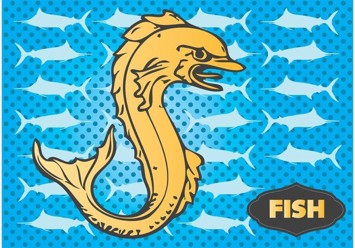 water Swordfish seafood sea life sea retro print pattern ornament ocean nature menu marine fish Etch engraved card Aquatic antique animal