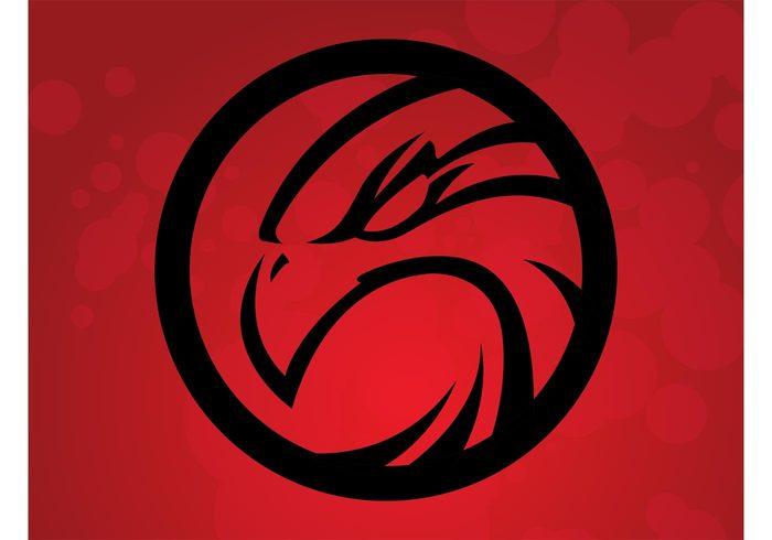 wildlife Vector Logo template T-shirt print round outlines head hawk eyes eagle clothing circle bird of prey bird beak badge apps