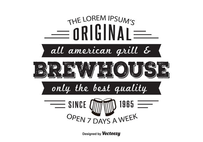 vintage logo vintage typography typographic template template retro logo retro restaurant logo restaurant origianl open logotype logo template logo house grill food logo food eat drink customizable brewhouse brew bar logo bar all american 7 days a week
