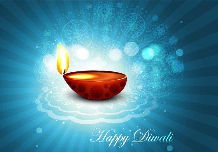 shiny Rangoli oil lit lamp happy glowing Diwali design deepawali celebration card bokeh blue background