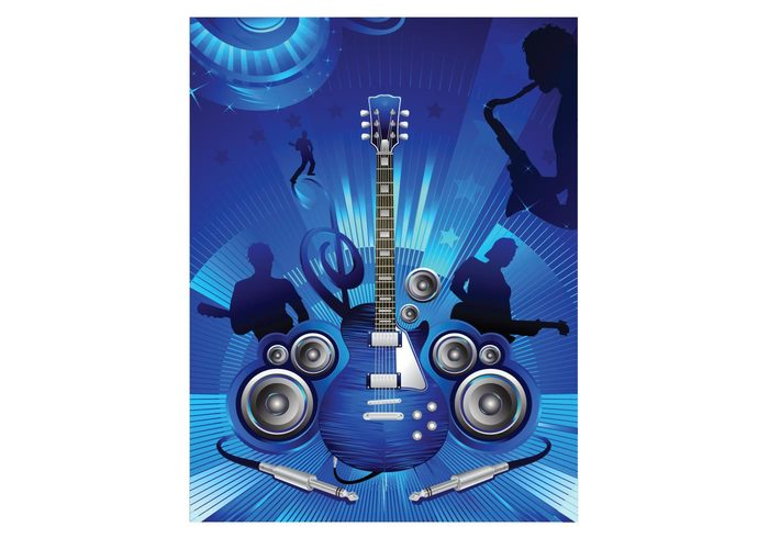 speakers saxophone rock people musical music guitars blue background amplifier