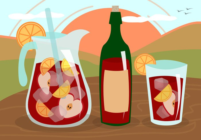 wood wine vector typical traditional Tasty sweet summer spanish Spain soda sangria restaurant refreshing refresh red party orange mixed Mediterranean lemon juice jug isolated illustration ice Homemade graphic glass fruit fresh food drink design cooling concept color cold cocktail citrus carafe bottle beverage background apple andalusia alcohol