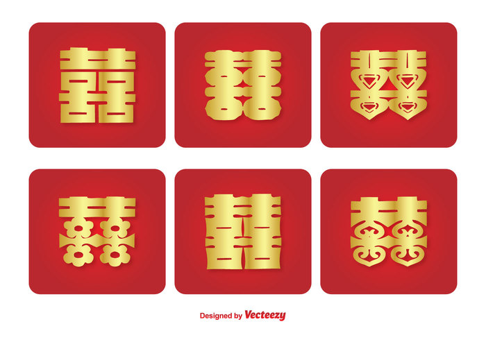 wishing wedding traditional together symbol sign red prosperity pattern ornament oriental marriage love label invitation icons icon set icon happy happiness gold Fortune floral engagement elements eastern double happiness double couple congratulations chinese symbol chinese china celebration card Asian
