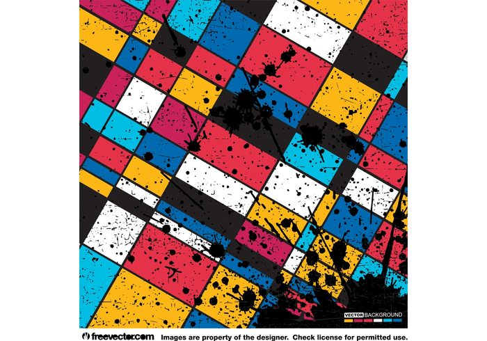 splatter splash shapes rectangle Piet mondrian paint Neo plasticism Mondrian liquid ink drip art abstract