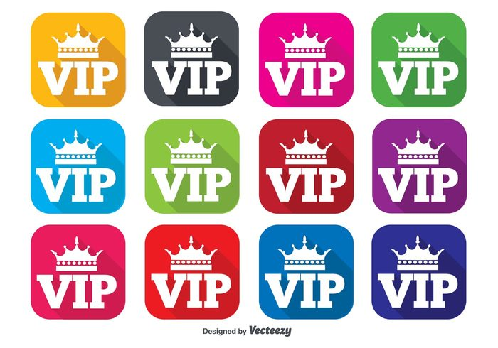 vip icons vip icon vip symbol success stamp sign shape royal rich red purple pink orange Membership member mark luxury logo label important icons icon green flat concept blue badge