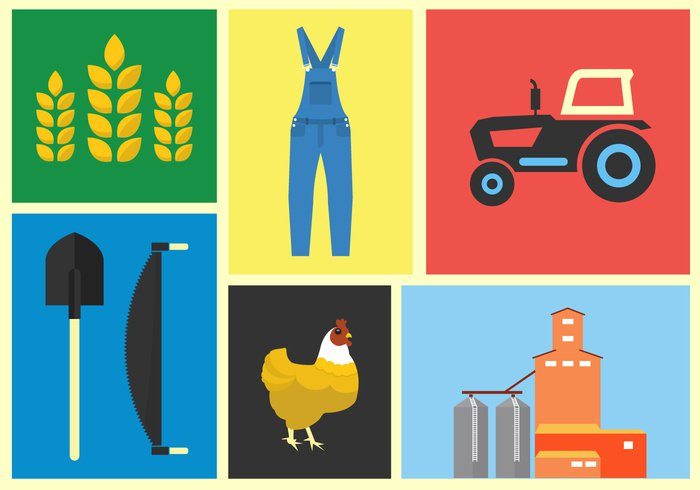 work wheat village tractor shovel set saw overalls organic nature natural machine land isolated illustration icon harvest green grain garden food flat field farming farmer farm elevation element chicken cartoon barn background animals animal agriculture