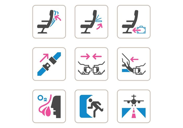 vector trunk trip travel transportation transport symbol suitcase sign set security seat belt safety plane pictogram object luggage information in illustration icons icon Hostess graphics fly flight design Departure control collection clipart check business border baggage airport airplane aircraft air aeronautic