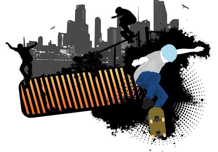 Urban Scene teenager sport skateboarding skateboard jumping grunge ghetto Extreme sports City life